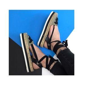zara • espadrille platform ankle tie sandals